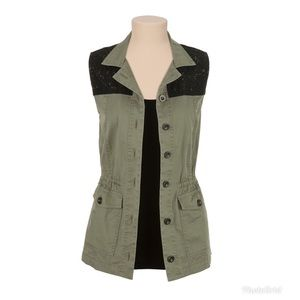 Maurice's Military Vest w/ Lace Detail